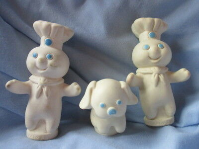 """Pillsbury Doughboy Poppin fresh and his dog 4"""" finger puppets RARE Flapjack"""