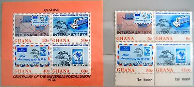 GHANA 1974 556-59 Block 56 521-524A INTERNABA 74 UPU Postal Union Post MNH