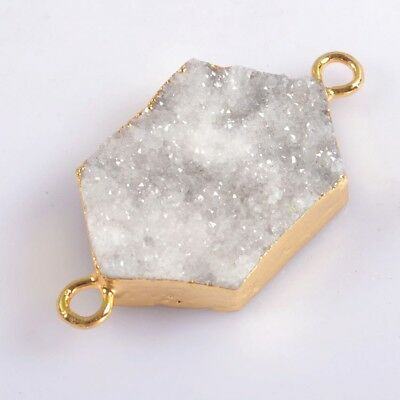 Uneven Natural Agate Druzy Geode Connector Gold Plated H115152