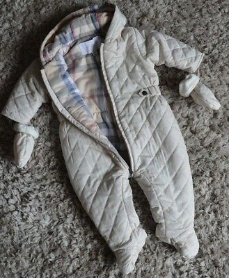 Baby Boy Girl Burberry Designer Diamond Quilted Snowsuit Pram Suit 6 Months Vgc