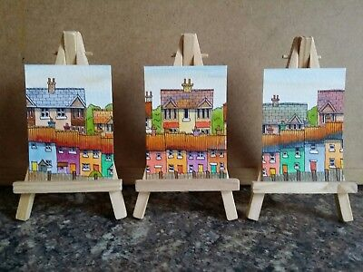 "3 x Original Watercolour Paintings ACEO "" Wealthy Neighbours "" by Colin Coles"
