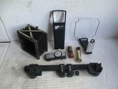 Mixed Lot, Vintage Camera Accessories Bellows, Lens Brush, Magnifier, Meter, Etc