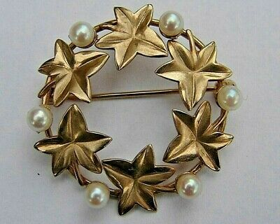 14K Yellow Gold White Cultured Pearl Leaf Wreath Brooch VINTAGE Circle Pin