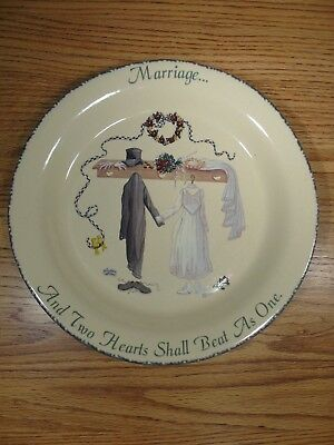 """Home & Garden Party 10"""" Stoneware Plate """"Marriage...Two Heart Shall Beat as One"""""""