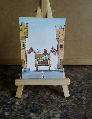 "Original Watercolour Painting ACEO "" Just Married "" by Colin Coles"
