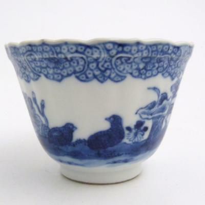 Chinese Blue And White Porcelain Tea Bowl, Quail Pattern, 18Th Century