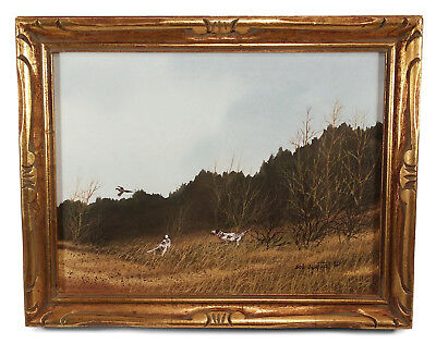 Vintage California Landscape Watercolor Painting By Bob Sugita Dogs Hunting Bird