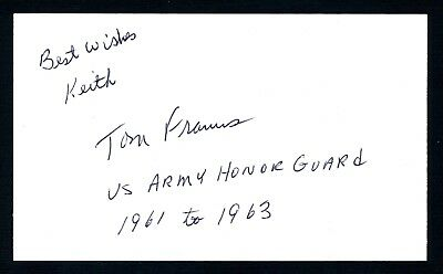 Tom Franus JFK - Honor Guard at President Kennedys funeral Signed 3x5 Card T2576