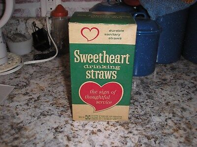 "Vintage Sweetheart Drinking Straws -NOS  UNOPENED CASE OF 500 -61/2"" PAPER 1950S"