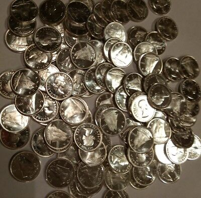 (Lot of 100) BU Canada Prooflike dimes, 1963 1964 1965 1966. all 80% SILVER