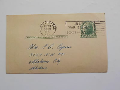 WWII Letter 1943 Jacksonville Florida Oklahoma City Soldier 138th Engineers WW2