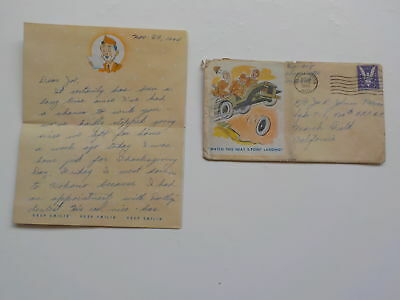 WWII Letter 1944 Jeep Cover 43rd Bomb Group Air Force World War Two WW2 VTG