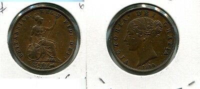 Great Britain 1854 Half Penny Coin Xf 5736G