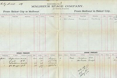 Canyon City Stage Co Between Baker City And Mathesur, 1889