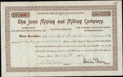 Juno Mining And Milling Co, Cripple Creek, Co, 1899, Uncancelled Stock Cft.