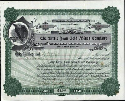 Little Joan Gold Mines Company, Cripple Creek, Co, 1905, Uncancelled Stock Cft.