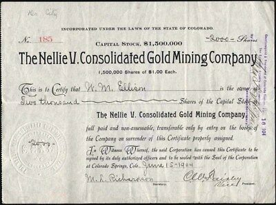 Nellie V. Consolidated Gold Mining Company, Cripple Creek, Co, 1904 Stock Cft.