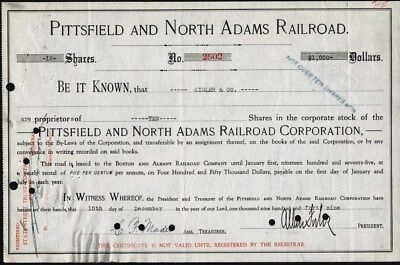 Pittsfield And North Adams Railroad Corp. Stock Certificate