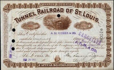 Tunnel Railroad Of St. Louis, Mo, 1906 Issued Stock Certificate