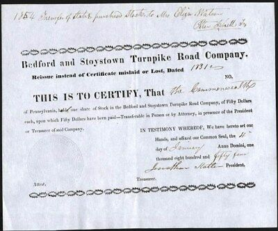 Bedford And Stoystown Turnpike Road Co, 1831, Rare Early Turnpike Certificate