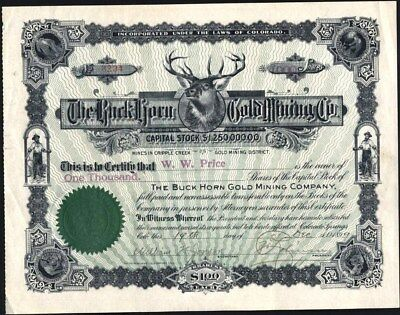 Buck Horn Gold Mining Co, Criple Creek, Co, 1899, Uncancelled Stock Certificate