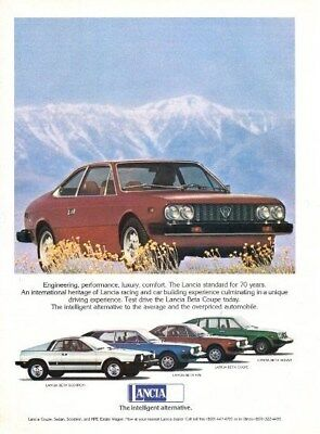 Vintage 1977 Lancia full line ad from Motor Trend Magazine Oct 1976  VG+ to FN