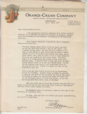 ORANGE-CRUSH COMPANY GENERAL OFFICES CHICAGO  LETTERHEAD DATED  APRIL 10th, 1929