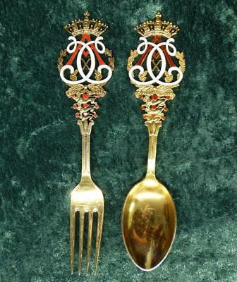 1912 Anton MICHELSEN SPOON FORK Sterling Silver Copenhagen Christmas Crown Lion