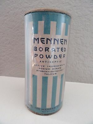 Vintage Mennen Borated Powder Antiseptic Talcum - Cardboard Victory Container