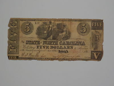 Civil War Confederate 1862 5 Dollar Bill State Of North Carolina Raleigh Money N