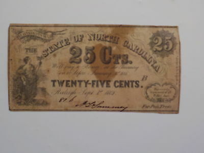 Civil War Confederate 1862 25 Cents Note Raleigh North Carolina Paper Money NR N