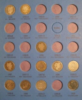 BARBER LIBERTY Dime Collection a Set of 60 Silver Dimes from 1892 to 1916
