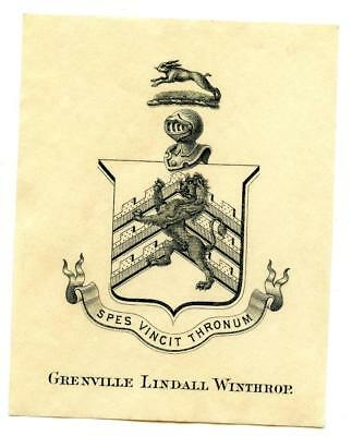 Early 1900s Engraved Bookplate Ex Libris Grenville Lindall Winthrop Crest #2