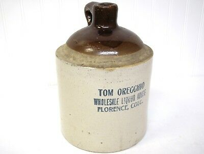 Florence COLORADO Advertising WHISKEY JUG Ad Tom Orecchio Liquor House 1 Gal