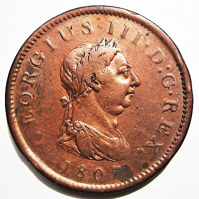 Great Britain 1807 King George Iii Copper One Penny Coin (Km#663)