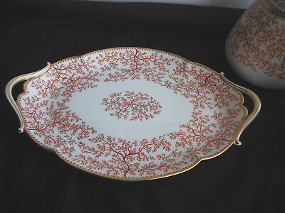 Antique Handled SERVING TRAY or Under-Plate - MINTON Fibre Red Seaweed L P L