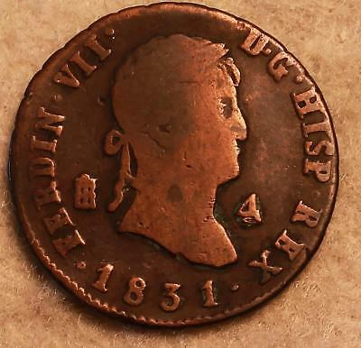 Genuine Old Fur Trade Pirate 1831 4 Maravedi Spain Spanish Coin NR