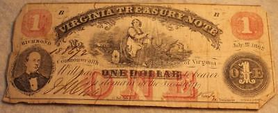 Original Civil War 1862 Confederate Virginia Treasury $1 Bill/Note NR
