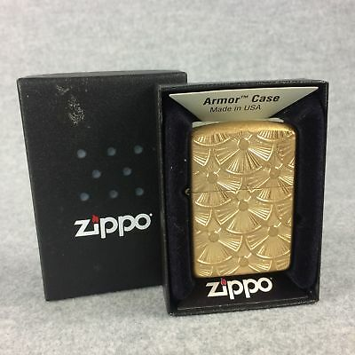 FANNED DISCS Tumbled Brass Double-Sided Armor Case Lighter (Zippo, 2015) NIB