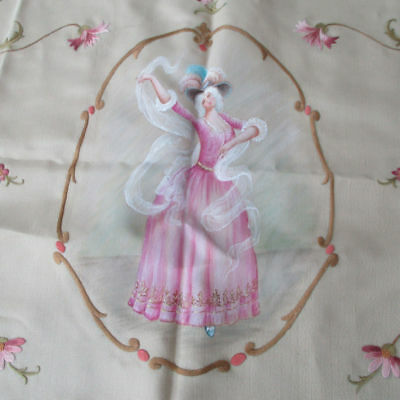 Antique SOCIETY SILK Hand Embr PILLOW Sham PINK Flowers + Hand Painted MAIDEN