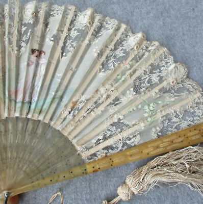 Antique French LACE + Silk FAN Hand Painted MAIDENS Lilies of the Valley + DOVES