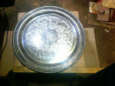 "Vintage WM Rogers Silver Plate Serving Tray #172 15"" Round Braided edge Pierce"