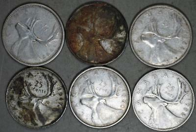 Canada 25 Cents Lot of 6 Silver Coins
