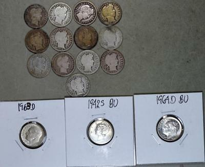 Barber Mercury Roosevelt Dime Lot of 16 Silver Coins