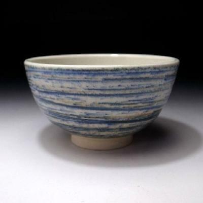 ZF8: Vintage Japanese Pottery Tea Bowl, Kyo ware, Blue and white glazes