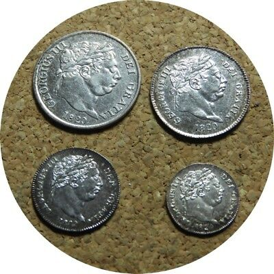 elf  Great Britain 4 pc 1820  Silver  George III   Maundy  Set