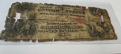 national Bank of Poughkeepsie, New york  $10  1864. This  is a counterfeit note