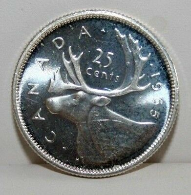 1965 Canada Proof-Like 25C Twenty Five Cents Silver Coin
