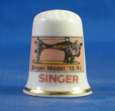 Fine Porcelain China Thimble -  Singer 15 Nl  Sewing Machine -- Free Gift Box