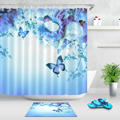 71 Fantasy Blue Flower Butterfly Shower Curtain Liner Waterproof Bath Mat Hooks